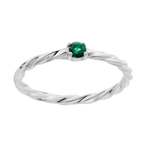 Stacking Ring with green CZ