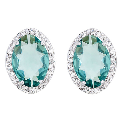 Cluster Green Quartz & CZ Silver Earrings