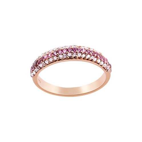 Rose Gold Plated & CZ Silver Ring
