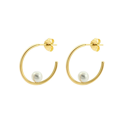 Fresh Water Pearl Hoop Silver Yellow Gold Plated