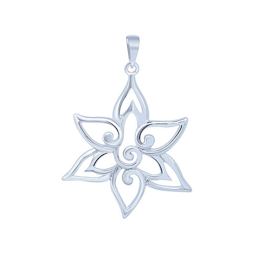 Cutout Flower Sterling Silver Pendant