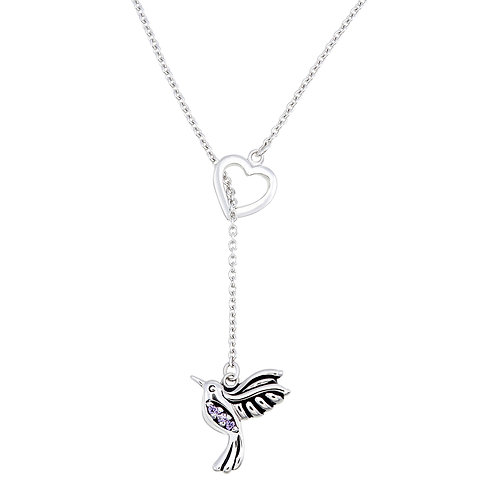 Hummingbird & Amethyst CZ  Silver Necklace