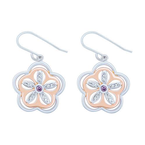 Rose Gold Plated Flower & CZ Silver Earrings