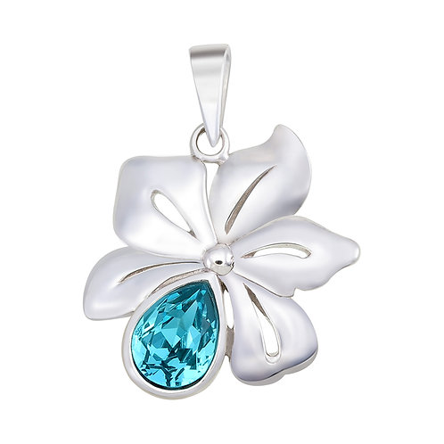 Flower with Swarovski Silver Pendant