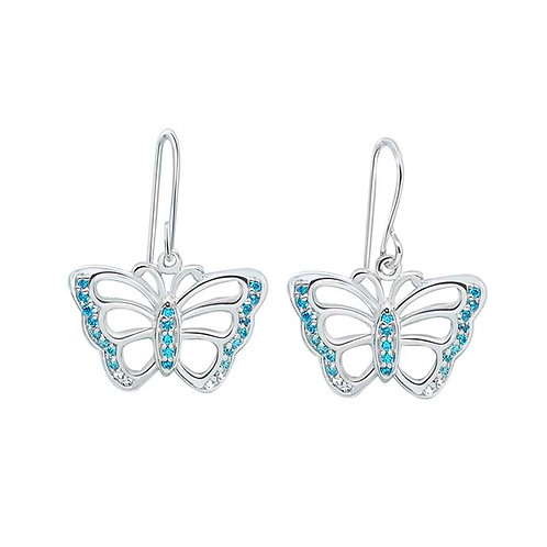Butterfly Blue CZ Silver Earrings