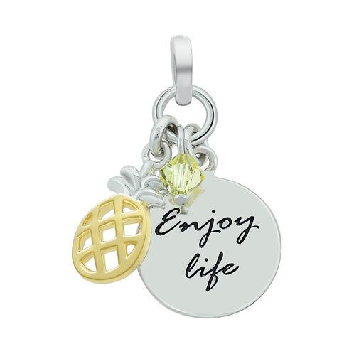 Enjoy Life & Crystal Silver Pendant