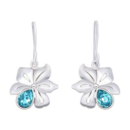Flower with Swarovski Silver Earrings