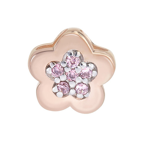Rose Gold Plated Flower Silver Pendant