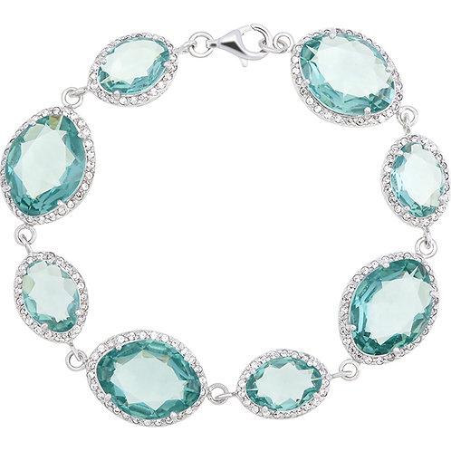 Cluster Green Quartz & CZ Silver Bracelet