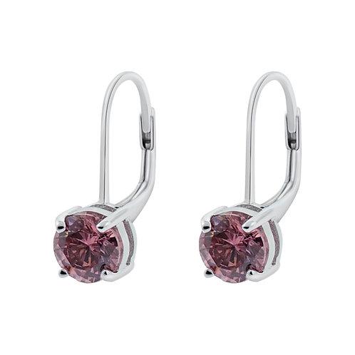 Rhodolite CZ Liver back Silver Earrings