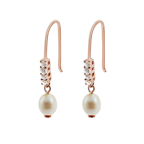 Fresh Water Pearl & CZ Silver Rose gold plated