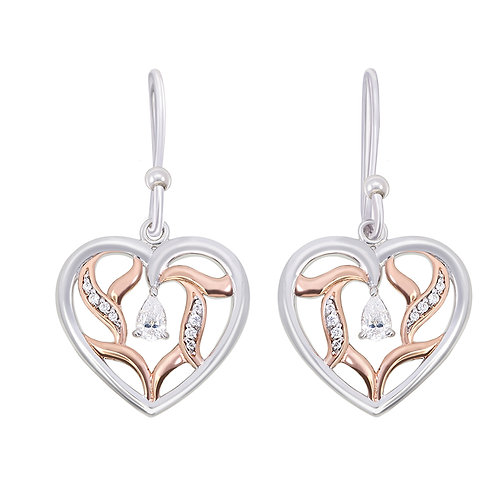 Rose Gold Plated Heart & CZ Silver Earrings