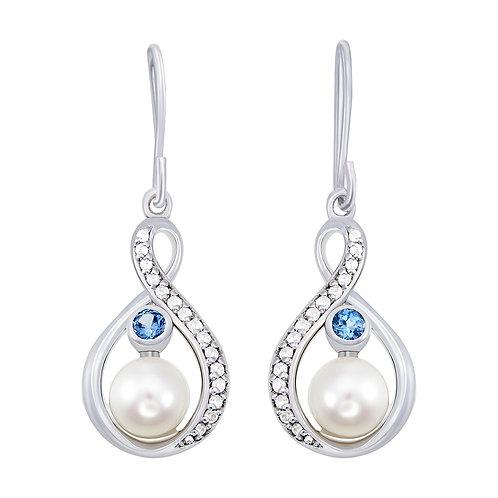 Fresh Water Pearl & CZ Earrings