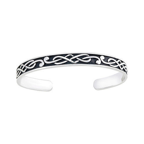 Celtic Cuff Silver Bangle Oxidized