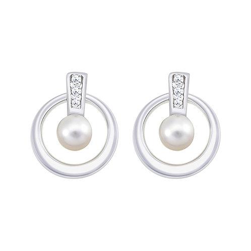Fresh Water Pearl & CZ Silver Earrings