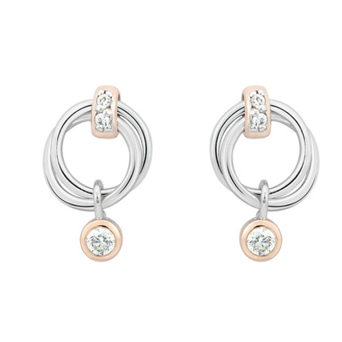 Circle Links White CZ Silver Earrings