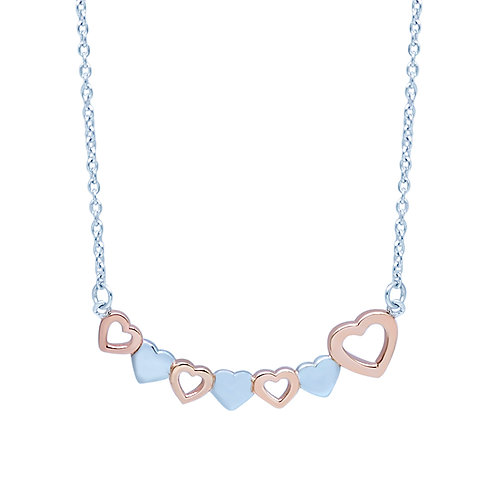 Two Tone Hearts Silver Necklace