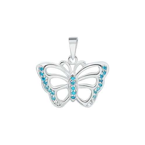 Butterfly Blue CZ Silver Pendant
