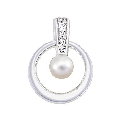 Fresh Water Pearl & CZ Silver Pendant