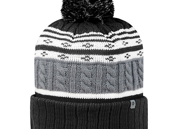 Striped Knit Cap w/pompom