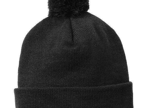 Solid Knit HatWith Pom Pom