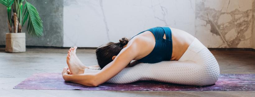 Dark haired female yoga student in a seated forward fold on a purple yoga mat in her home yoga studio