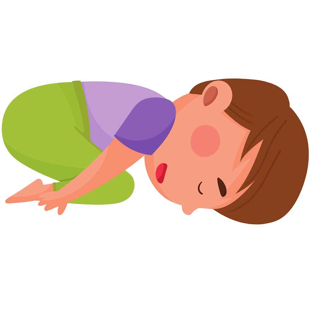 Cartoon image of child's pose for kids yoga
