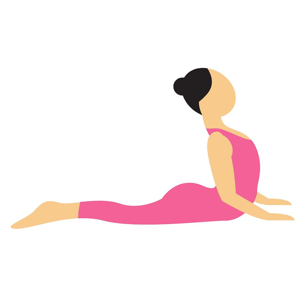 Cartoon image of cobra pose for kids yoga