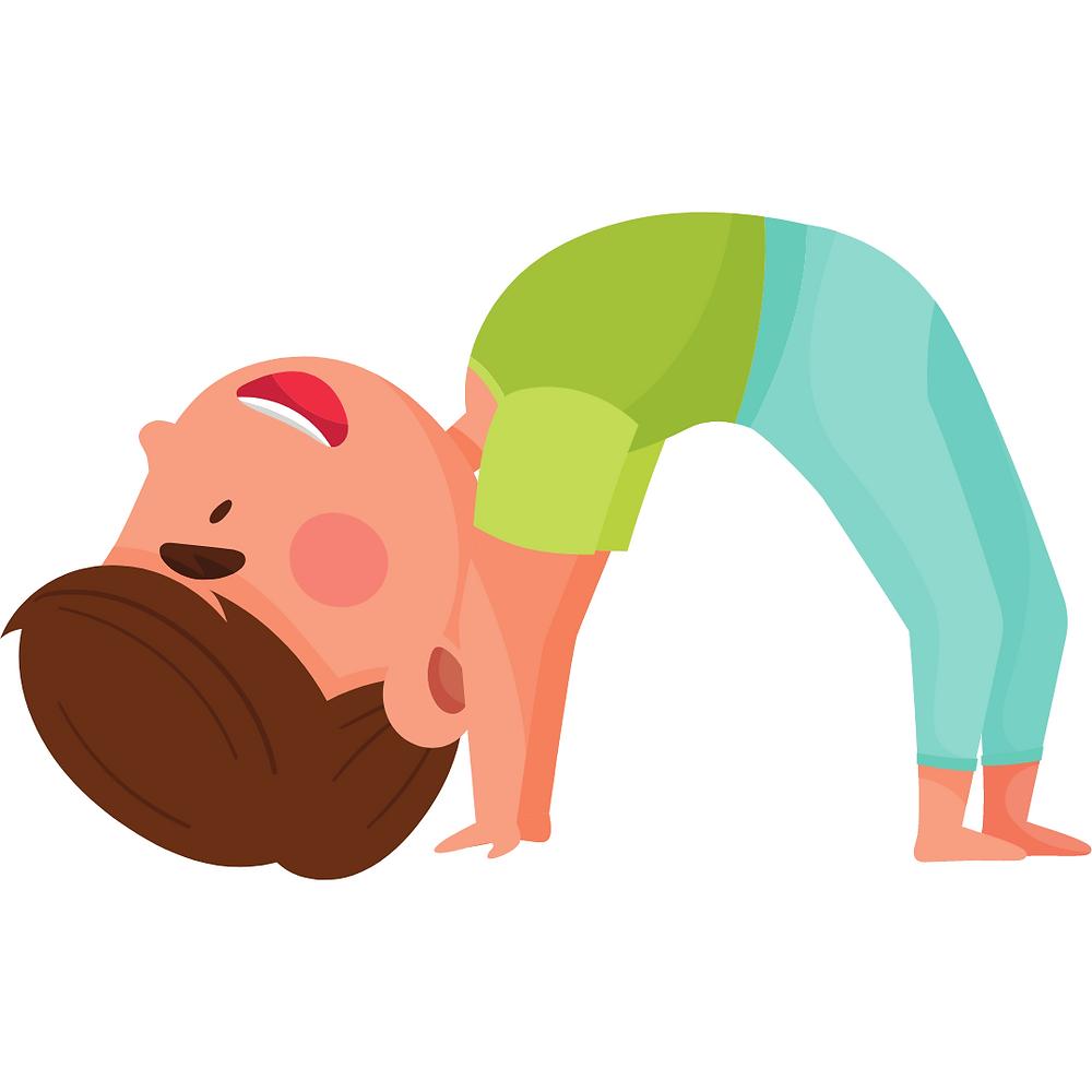 Cartoon image of wheel pose for kids yoga
