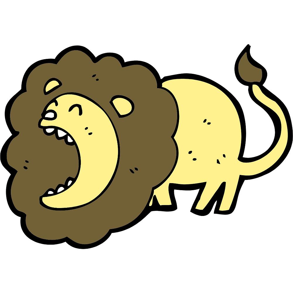 Cartoon image of roaring lions pose for kids yoga