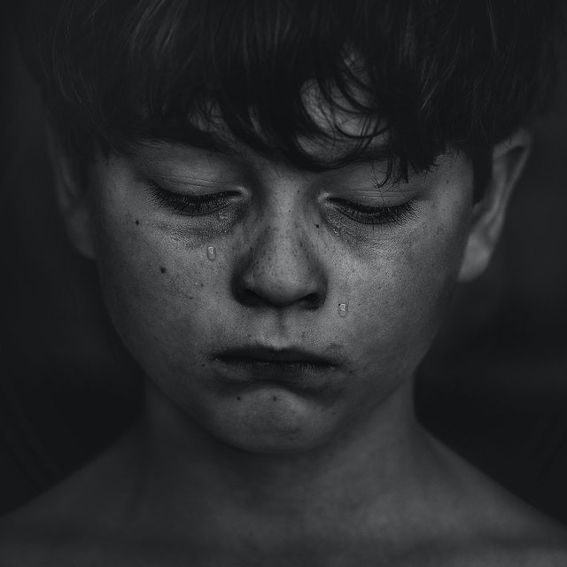 Child crying in black & white
