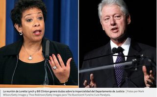 """La reunión """"inapropiada"""" entre Bill Clinton y Loretta Lynch que cuestiona la investigación"""