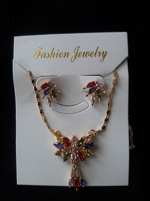 Multi Color Cubic Zirconia Necklace Set