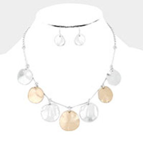 Hammered Metal Circles Necklace Set