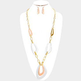 Abstract Tri-Color Long Necklace Set