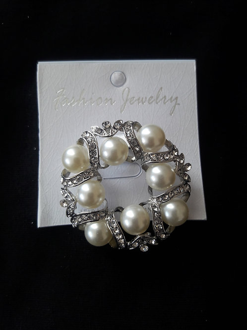 Silver Pearl Brooch or Hat Pin