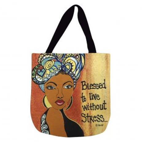 Blessed to Live Without Stress Canvas Tote