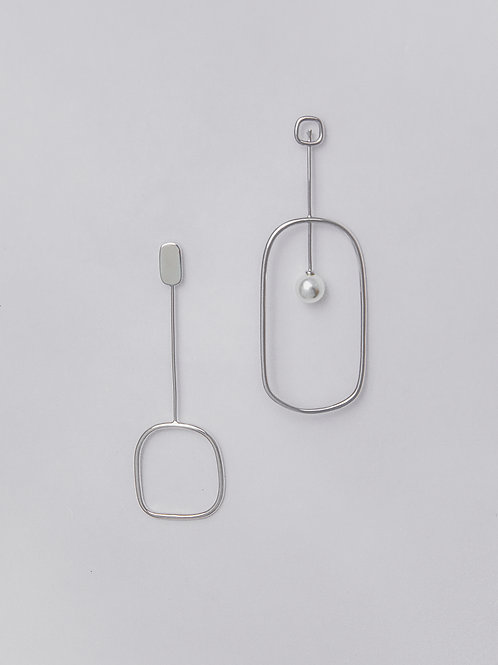 Asymmetrical Pearl Loop Earrings