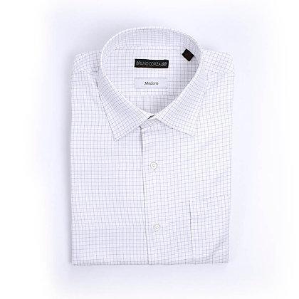 Camisa de Vestir Blanca con Microcuadros de Color