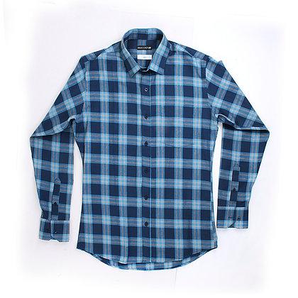 Camisa Slim Fit Azul cuadros