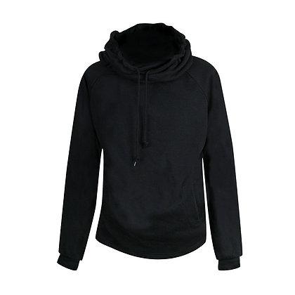 Hoodie con cuello amplio y capucha negra