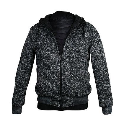 Chamarra doble vista capucha gris /  negro