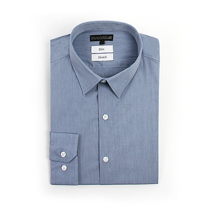 Camisa Stretch Slim Fit Azul