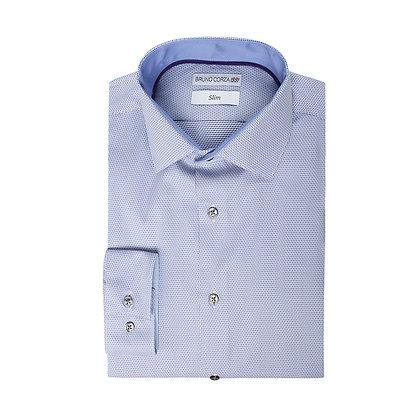 Camisa Azul con Texturas Moradas