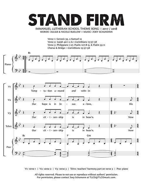 """""""Stand Firm"""" Sheet Music"""