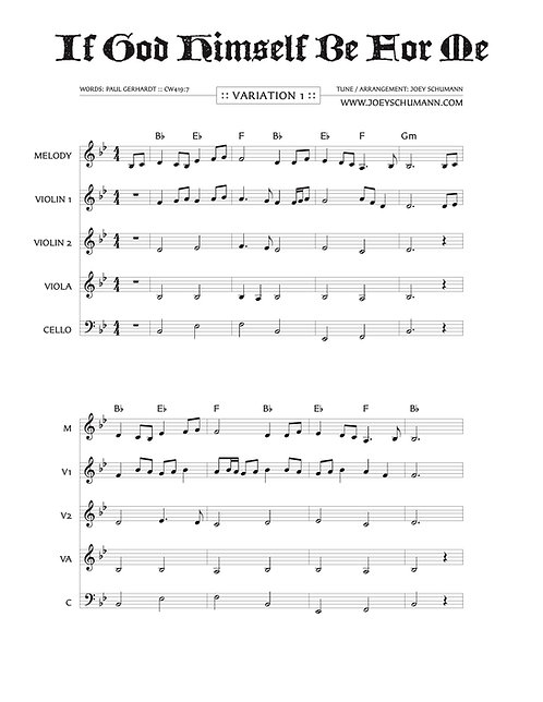 """""""If God Himself Be For Me"""" Sheet Music Packet"""