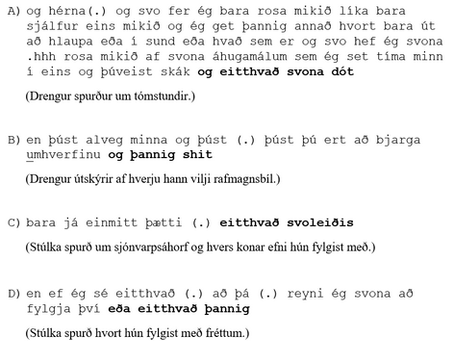 Unglingar og eitthvað svoleiðis – um opna flokka í samtölum