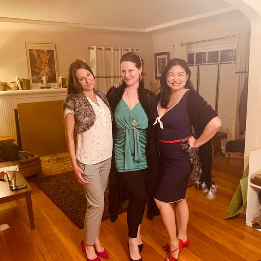 Britney, Holly, and Leah get gussied up for a night out!