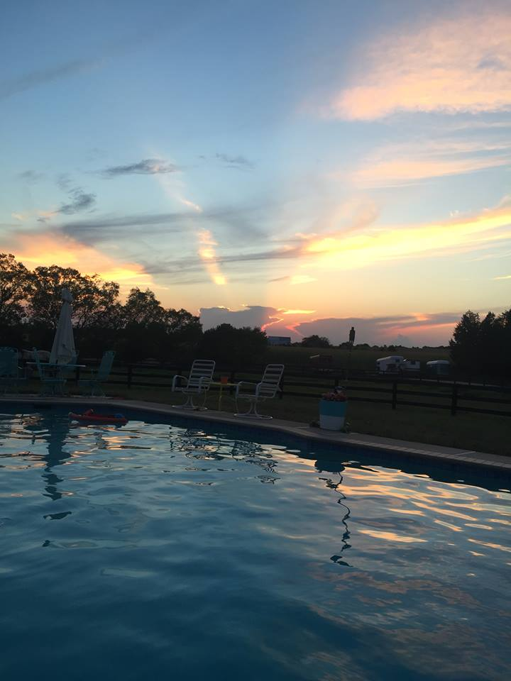 Pool, sunset