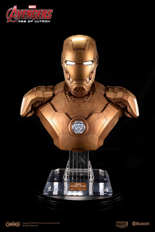 Iron Man Mark 43 Bust Life-Size Blue Tooth Hi-Fi System (Bronze Statue Style)